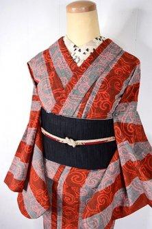 スカーレットストライプにアラベスクモダンなウール紬単着物