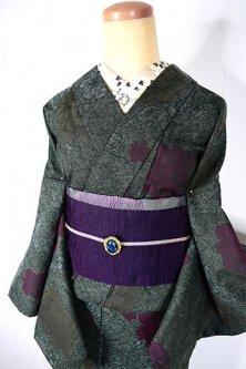 モスグリーン野ばらのようなボタニカルデザインロマンチックなウール単着物