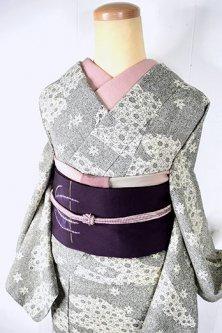 墨染のようなモノクロームの楓と花霞美しい染め紬袷着物