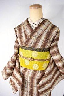 ブラウンのグラデストライプにシトラスカラーの風絣小粋なウール紬単着物