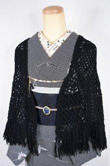 ノーブルブラック毛糸編みビンテージショール(猫の羽織紐付き)