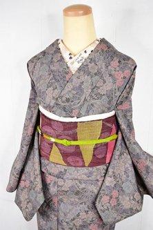 月下の花園のようなボタニカルデザイン美しいウール紬単着物