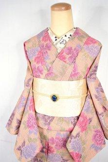 ふんわりカラー牡丹のようなオリエンタルフラワー美しいウール単着物