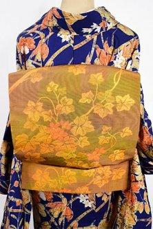 トパーズイエローにふくれ織りのような花蔦模様美しい紬名古屋帯