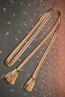 帯締めと昔着物の柄帯揚げ・半衿セット(江戸茶ぼかし野菜吹き寄せ)