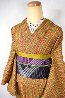 タータン調イエローベースのトラッドチェックモダンなウール単着物