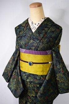 真夜中の森のようなボタニカルデザイン美しいシルクウール風単着物