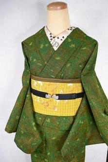 アッシュグリーンのダマスクアラベスク美しいウール単着物