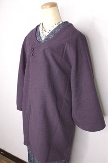モーヴパープルのシンプルビンテージ着物コート