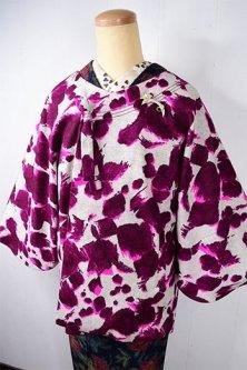 フランボワーズカラーのドリッピングアートのようなダップルパターンモダンなウール混ビンテージ着物コート
