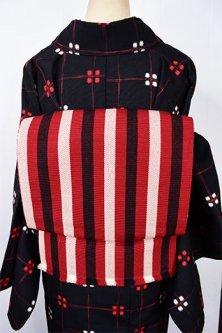 赤白黒のストライプモダンなウール名古屋帯