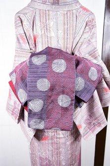 編みかご水玉モダンな半幅帯(ガーネットルージュ)