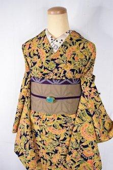 夢見るような蝶々と花のアラベスク染め模様美しい正絹袷着物