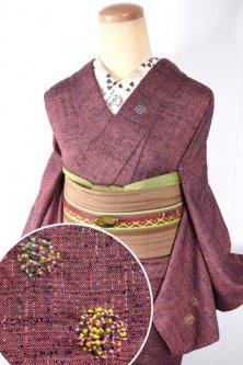 (ダーニングリペア刺繍ウール)ラズベリーカラーに色糸ストライプ愛らしいウール単着物