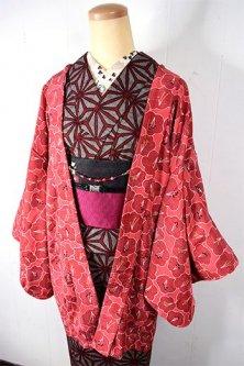 夢二好みの梅花文様愛らしい紅色レトロ羽織