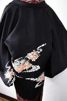 四季の花と鳥の染模様美しい黒絵羽織