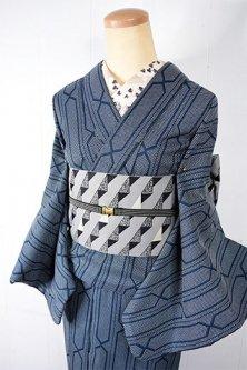 ストームブルーグレーのジオメトリック・トレリスデザインモダンなウール単着物
