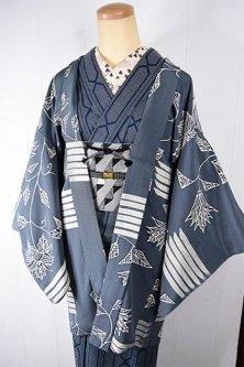 ストームブルーグレーにローズフラワーとボーダーのメルヘンチックデザインモダンなレトロ羽織