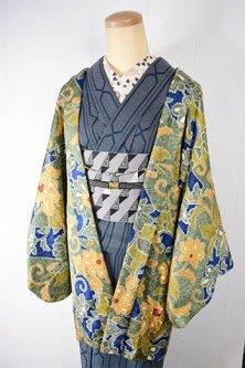 ラピスラズリブルーとグリーンのアラベスク染模様美しいレトロ羽織