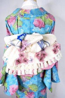 *ア・カセテ*淡雪総絞り飾り布ストール(柄A:花と青い蝶々)