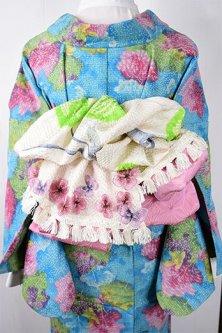 *ア・カセテ*淡雪総絞り飾り布ストール(柄B:花と緑の蝶々)