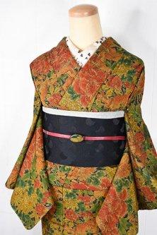 牡丹の百合のボタニカルデザイン美しいしょうざんウール単着物