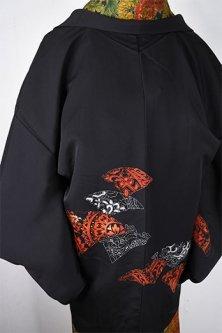 陶片のようなアラベスク装飾模様ロマンチックな黒絵羽織
