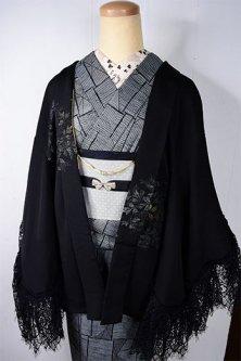 ビンテージリメイク・レースデコレーション黒羽織(エロール・ル・カインのハーブガーデン)