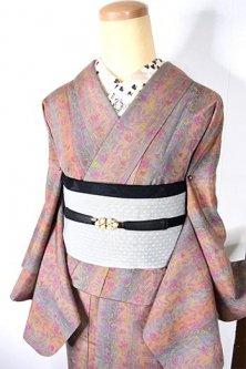 オーロラローズストライプにヨーロピアンボタニカルデザイン美しい正絹紬袷着物
