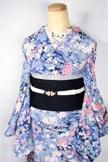 紺青地に御所解四季の草花風景文様美しい正絹縮緬袷着物
