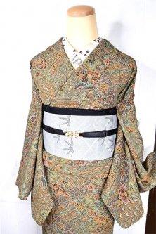 アッシュブラウンとグリーンの更紗アラベスク美しい正絹縮緬袷着物