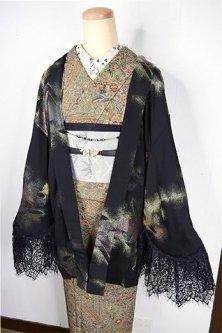 ビンテージリメイク・レースデコレーション黒羽織(フローズンフラワー)