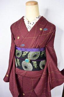 リーフ模様マルーンブラウンに金彩と本絞り花水玉美しい正絹袷着物