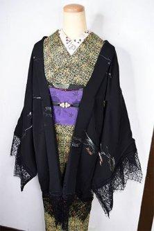ビンテージリメイク・レースデコレーション黒羽織(フローズン・ツリー)