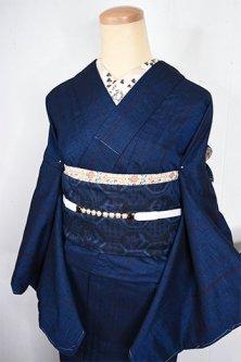 ミッドナイトネイビーにシンプルストライプモダンな正絹紬袷着物