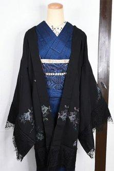 ビンテージリメイク・レースデコレーション黒羽織(フロスティ・ローズ)