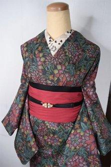 ダリアの花のようなボタニカルガーデンロマンチックな正絹紬袷着物