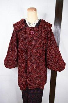 赤黒ミックスカラーふっくらループヤーンビンテージ着物コート