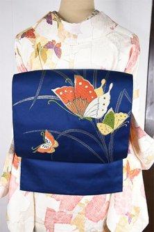 紺青地に揚羽蝶美しい名古屋帯