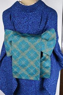ディープターコイズブルーにアラビック装飾模様ロマンチックな半幅帯