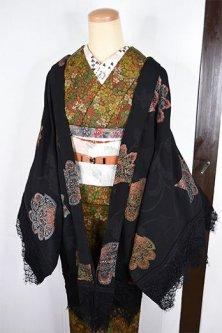 ビンテージリメイク・レースデコレーション黒羽織(ビアズリーレース・アラベスク)