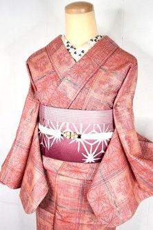 紅緋色に梅松星と麻の葉の格子愛らしい夢二好みのウール単着物