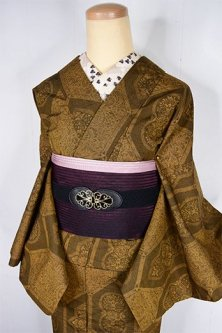 セピアブラウンにアラベスク美しいタイルのような染模様ロマンチックな紬調ウール単着物