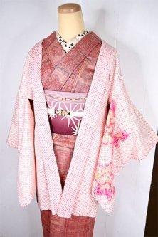 桃色鹿の子に花模様愛らしい正絹総絞りレトロ羽織