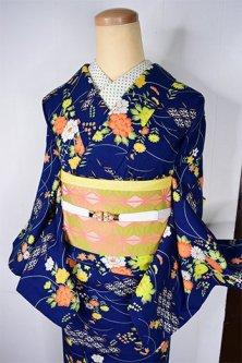 新春福袋(丈153cm/裄63cm)紺青の古典花庭・半幅帯セット