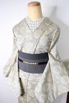 新春福袋(丈151.5cm/裄63.5cm)白大島風ロマンチックモダン・名古屋帯セット