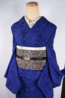 ラピスラズリブルーのボタニカルデザイン美しい袷着物