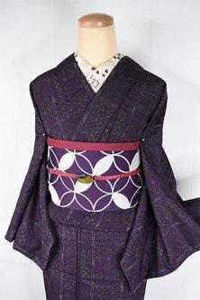 マルベリーパープルにステッチみたいな絣チェックナチュラルモダンなウール紬単着物