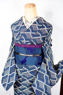 エッシャーのアートのような紺藍波格子レトロモダンなウール単着物