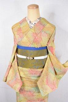 彩ぼかしに鹿子型染め扇染め模様美しいウール単着物